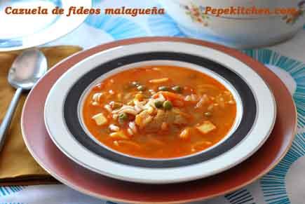 Cazuela de fideos malagueña, receta economica